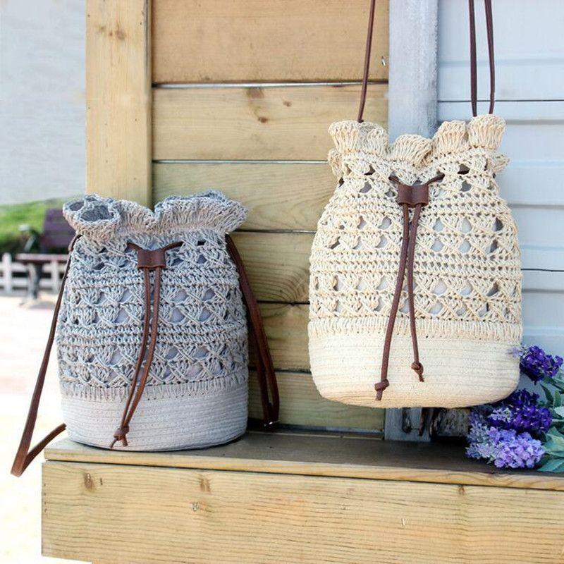 Qicai. yanzi Летняя обувь ручной работы крючком сумка Для женщин Сумки ротанга соломы Сумки ведро Сумки выдалбливают пляжная сумка завязки