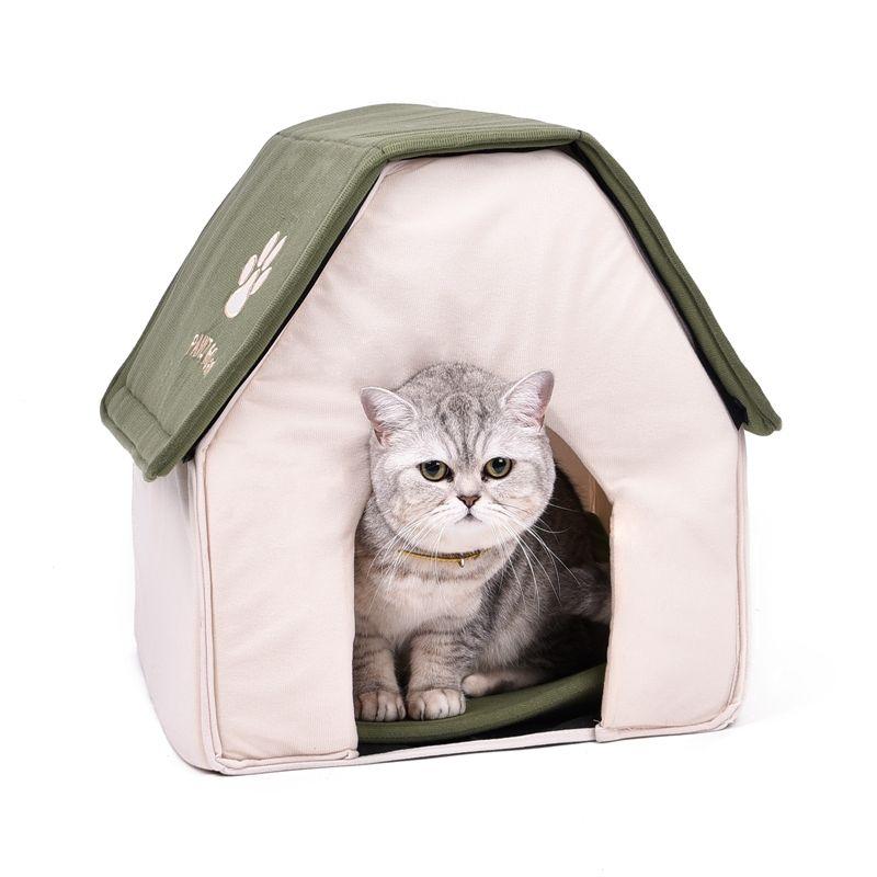 Drop shipping Pliable Pet Chat Grotte Maison Chat Chaton Lit Cama Para Cachorro Doux Chien de La Maison Chat Chiens Maison Forme Rouge Vert