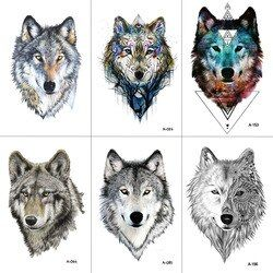 WYUEN Wolf Temporary Tattoo Stickers Waterproof Women Fake Hand Animal Tattoos Adult Men Body Art 9.8X6cm A-085