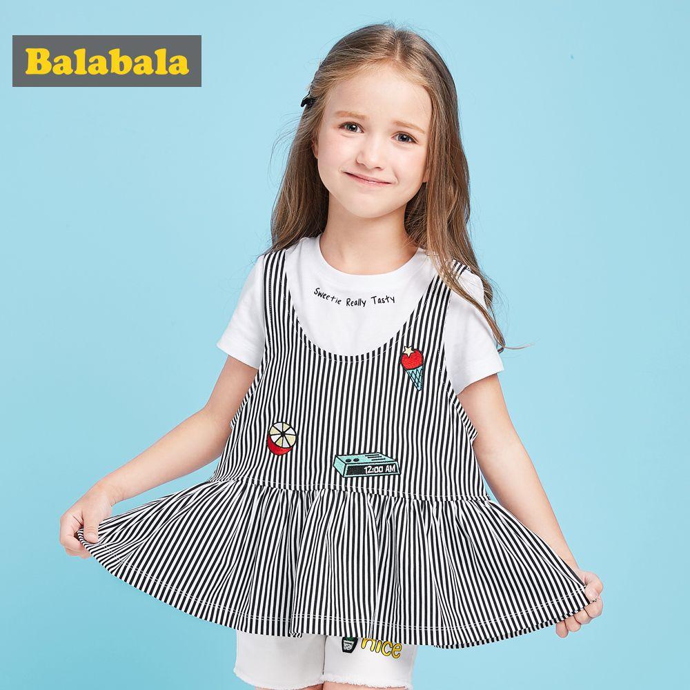 Balabala Girls Kids Children Clothes set 100% cotton 2PCS Toddler Kids Baby Girls Outfits stripe T-shirt Tops+dress Clothing