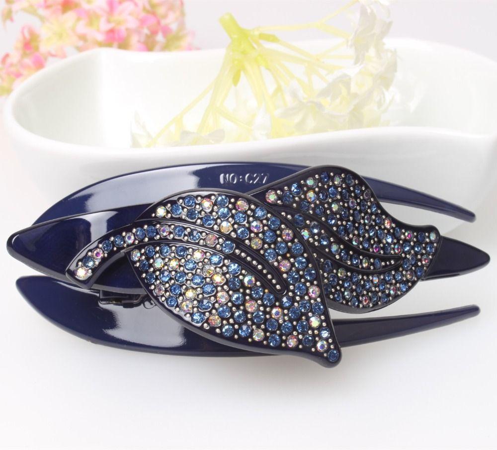 Épingles à cheveux de mode strass acrylique pinces à cheveux deux feuilles de cristal bijoux de cheveux top qualité peignes à cheveux livraison gratuite AS5018