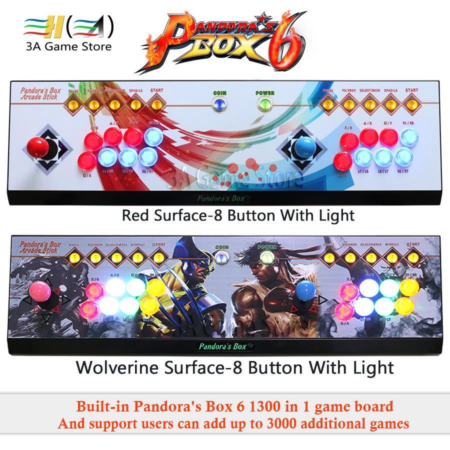 Pandora Box 6 1300 in 1 arcade joystick controller 8 Taste led licht 2 spieler Konsole können hinzufügen 3000 spiele usb joystick für pc