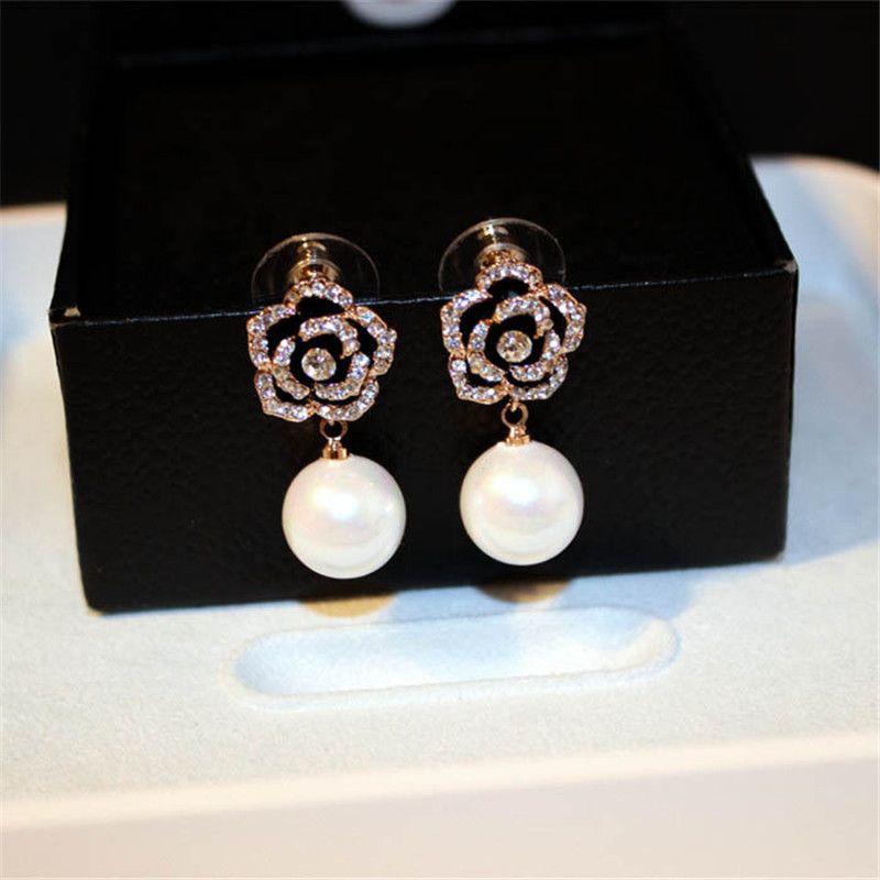 CX-Shirling Fleurs Perles De Luxe Célèbre Marque Boucles d'oreille Bijoux Boucles D'oreilles Pour Les Femmes Anti-Allergie Boucle d'oreille Fantaisie