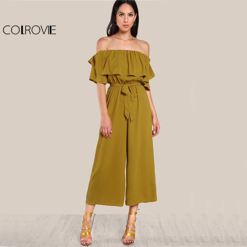COLROVIE Sexy Flounce Culotte Jumpsuit Women Off Shoulder Self Tie Yellow Jumpsuits 2017 New Ruffle Half Sleeve Elegant Jumpsuit