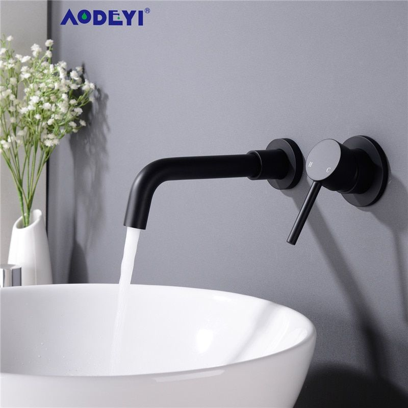 AODEYI <font><b>Matte</b></font> Brass Wall Mounted Basin Faucet Single Handle Bathroom Mixer Tap Hot Cold Sink Faucet Rotation Spout Burnished Gold