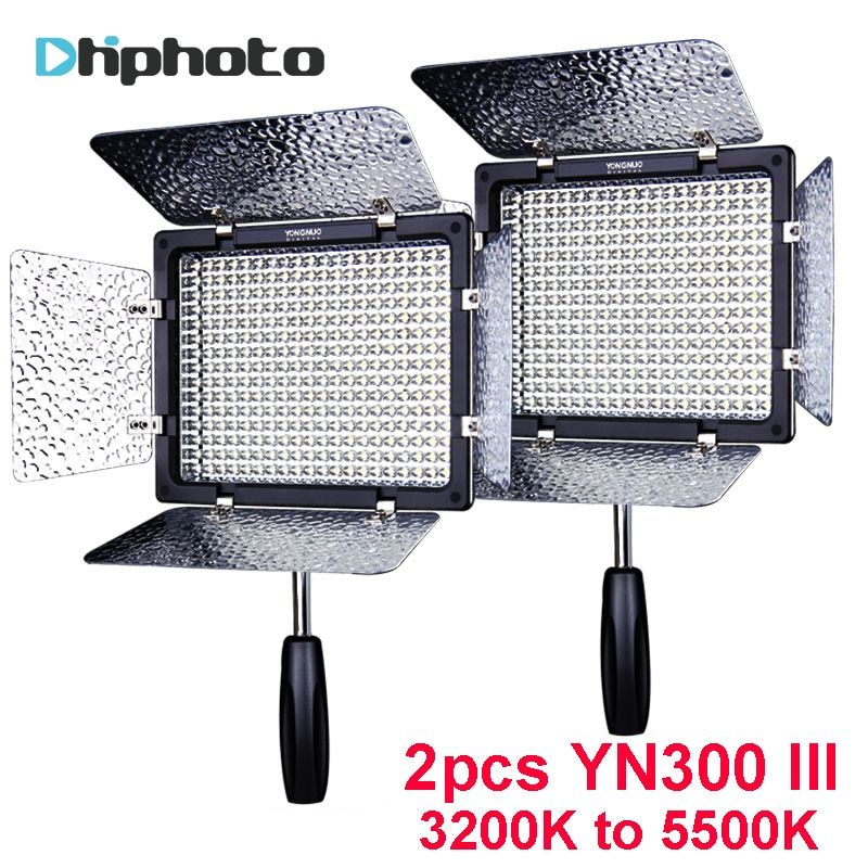 2PCS YONGNUO YN300 III YN300III YN-300 III CRI95 3200K-5500K LED Video Light with Barndoor photographic led panel lamp for DSLR