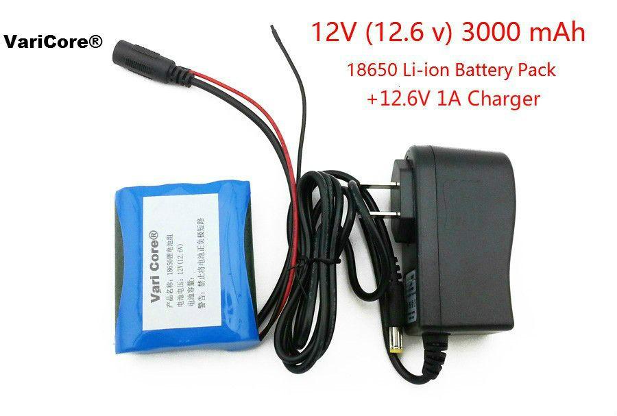 12 V 3000 mAh 18650 Li-ion Rechargeable batterie et 12.6 V 1A Chargeur cctv caméra