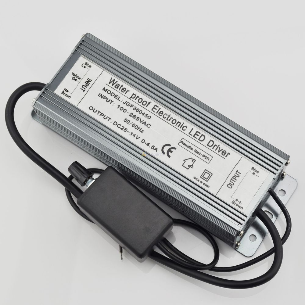 150W Dimmable Constant Current LED Driver IP67 Waterproof AC to DC25-36V 0-4500mA for 150W High Power LED Light