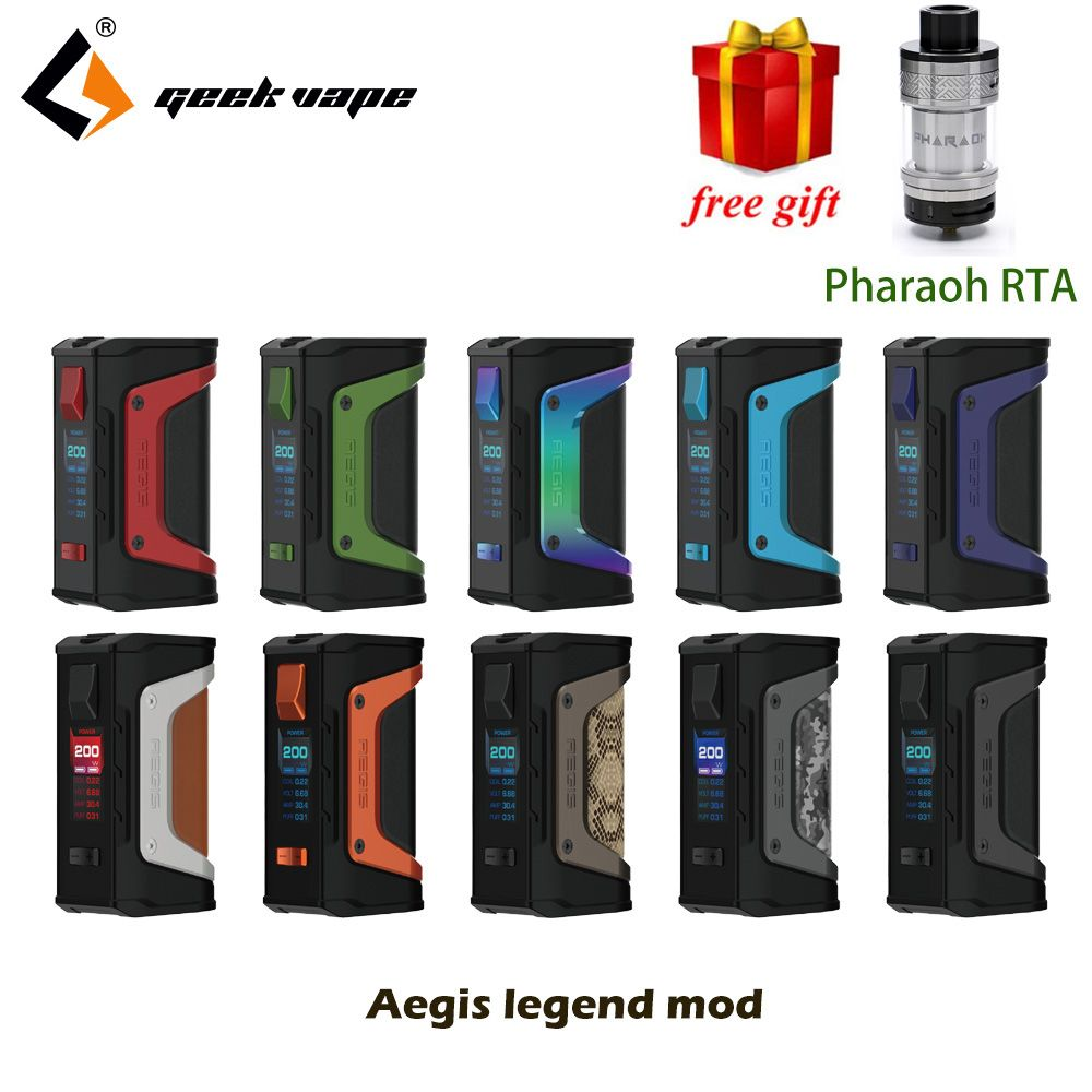 Free tank GeekVape Aegis mod aegis Legend 200W TC Box MOD Powered by Dual 18650 batteries e cigs No Battery for zeus rta blitzen