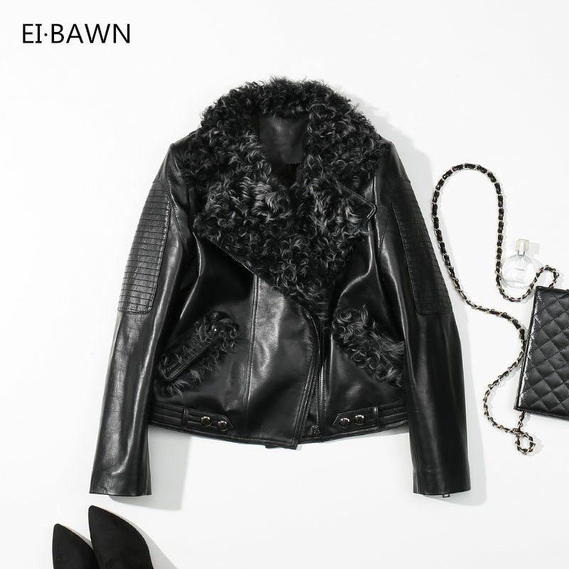 Winter 2018 Genuine Leather Jacket Women Black Punk Bomber Jacket Ladies Clothes Real Sheepskin Wool Fur Collar Winter Coat