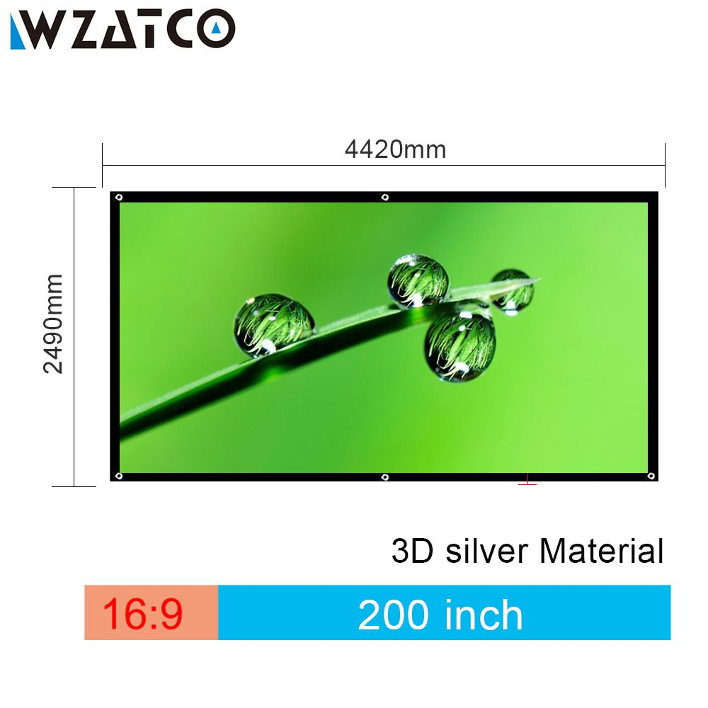 WZATCO Screen 200 inch 16:9 Foldable 3D Silver Simple Large Size Cinema Screen Fabric for Projector with Black Border and Eyelet
