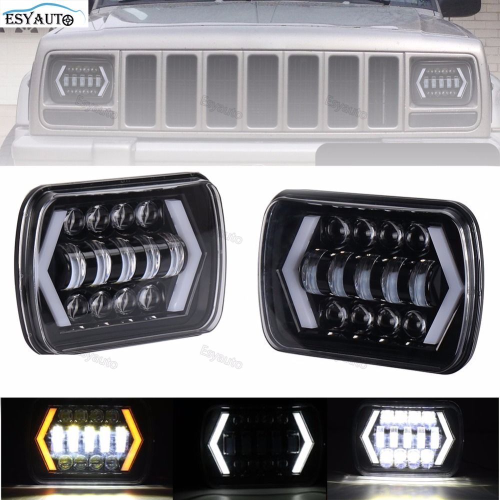 New!LED Truck Lights 7x6 5x7 Driving Lamps 24V White Amber Arrow Style Angel Eyes Replaces H6014 H6054 6054 H6052 for Jeep YJ