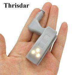 Thrisdar 0,25 W interior bisagra LED Sensor luz cocina dormitorio gabinete bisagra luz de noche muebles armario Luz