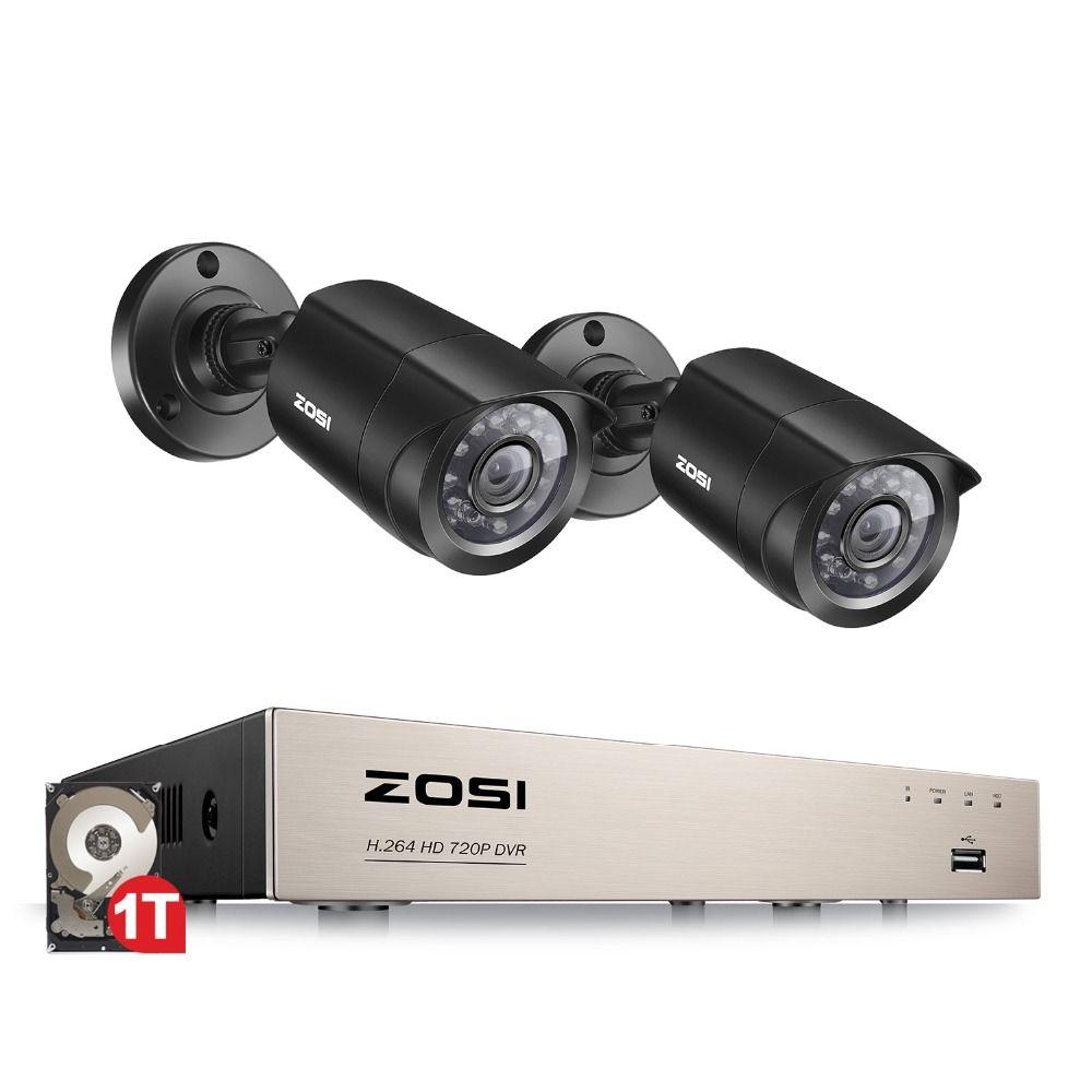 ZOSI 4CH/8CH DVR système de vidéosurveillance avec 2CH 2 pièces 1.0 MP IR caméras de sécurité extérieures 720P HDMI CCTV DVR 1280TVL Kit de vidéosurveillance
