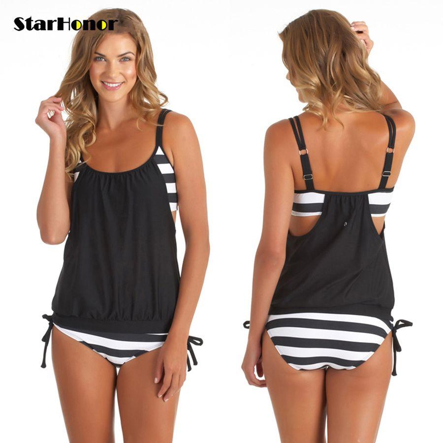 StarHonor Woman <font><b>Striped</b></font> Beach Swimsuit Bandage Double Layer Two-piece Bikini Set Push Up Strappy Bathing Suit Swimwear Plus Size