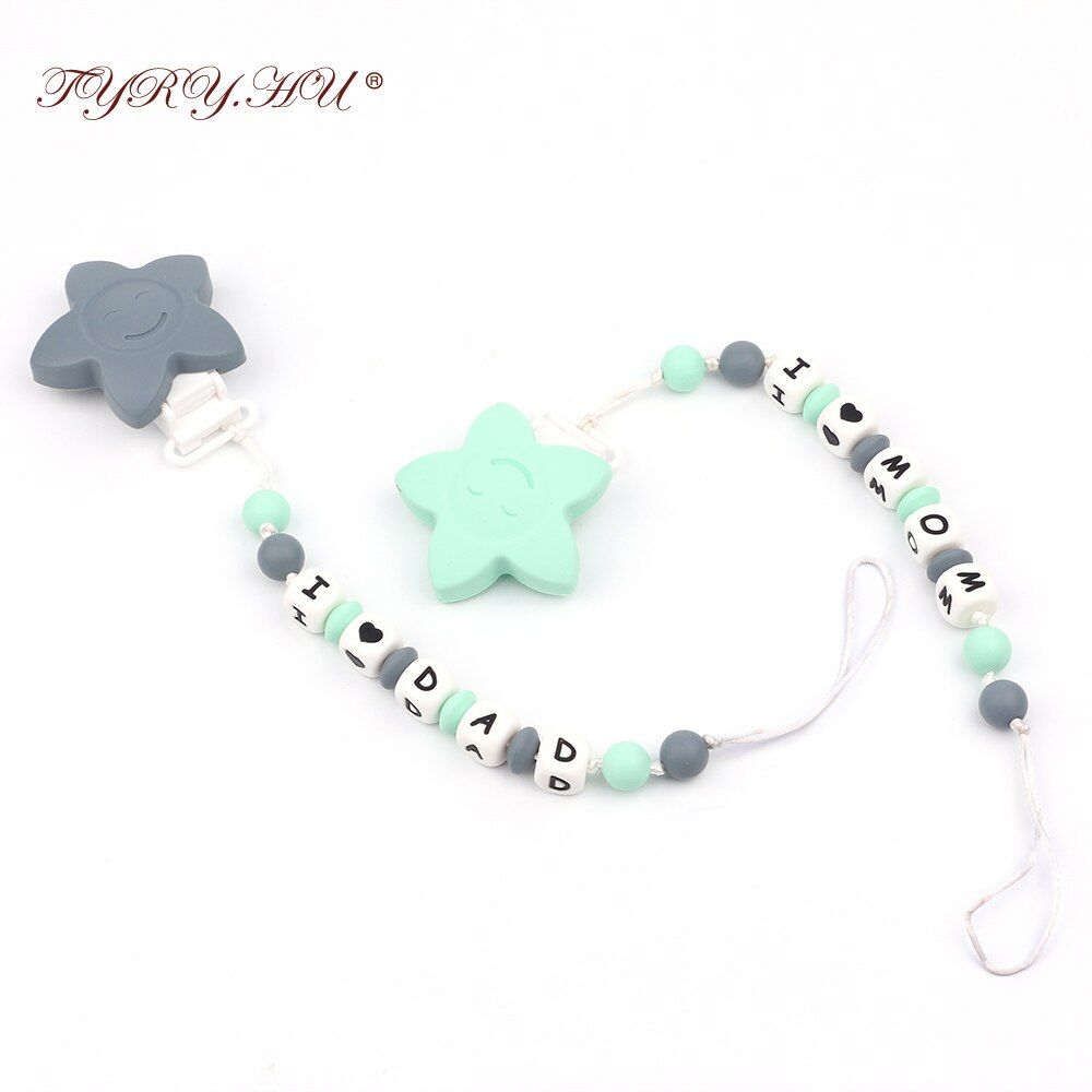TYRY.HU Handmade Baby Teething Pacifier Clips Personalized Name Safe Silicone Beads Dummy Chains for Baby