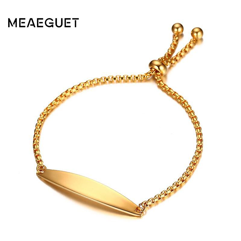 Meaeguet Women's Handmade Chain ID Bracelet Gold-color ID Tag Bracelets Adjustable Pulseira Free Engraving