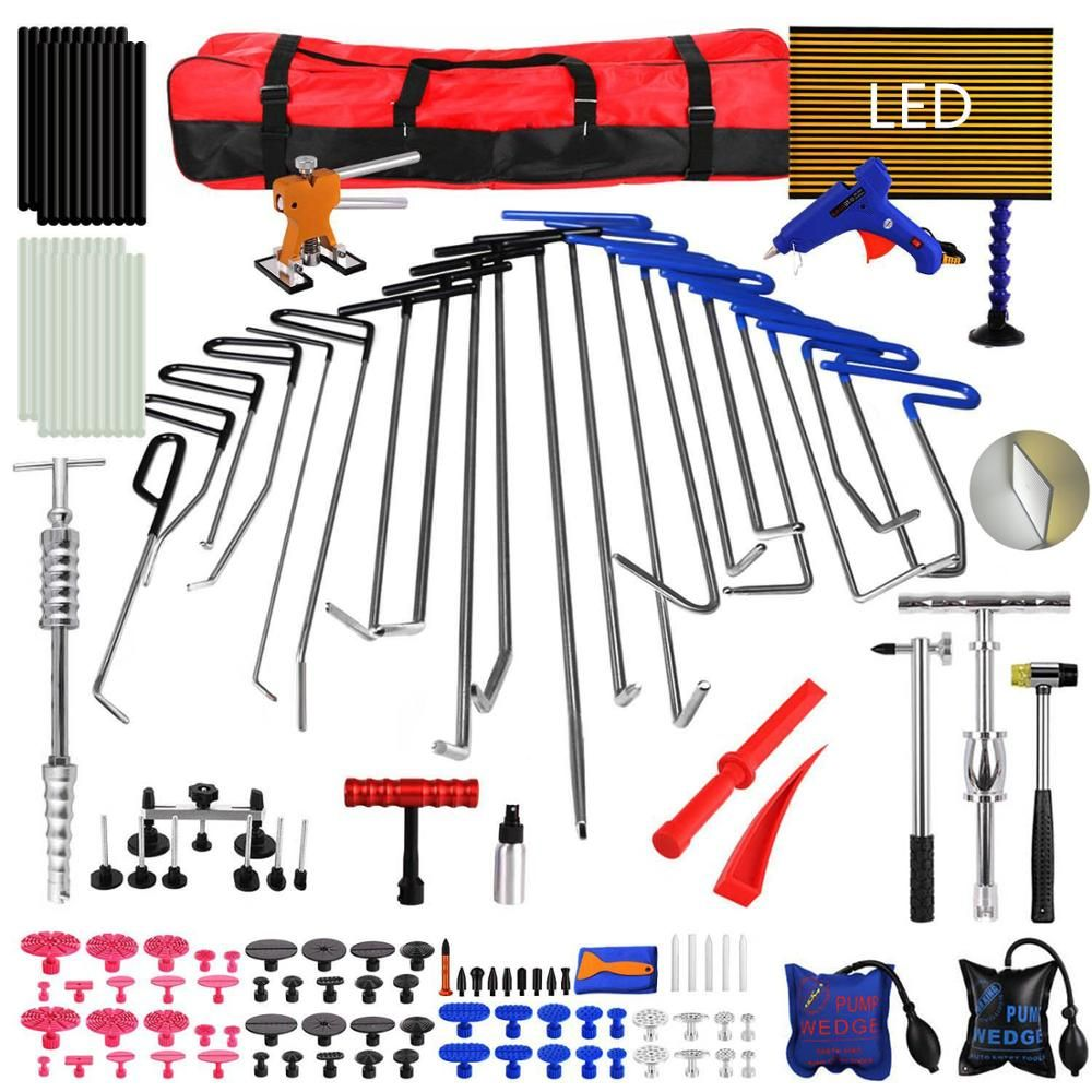 PDR Werkzeuge 21 stücke PDR Stangen Dent Puller Slide Hammer Dent Lifter Kleber Pistole Leitungs Unten Pdr Licht Reflektieren Bord auto Dent Reparatur Kit