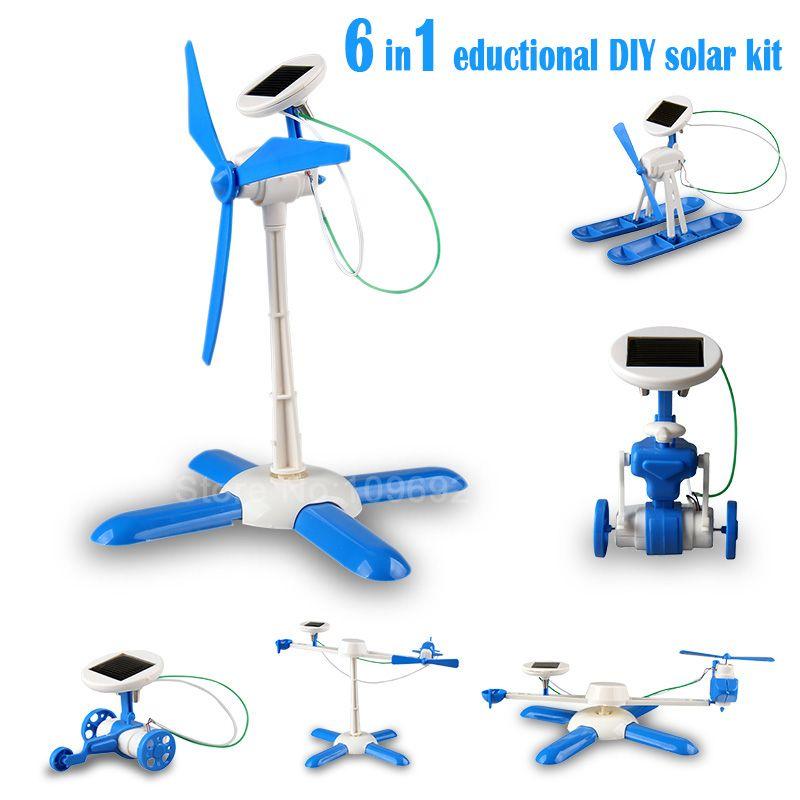 6in1 образование DIY Kit Солнечная Солнечный робот солнечные wheeler вертолет плоскости Airboat солнечная мельница Drive