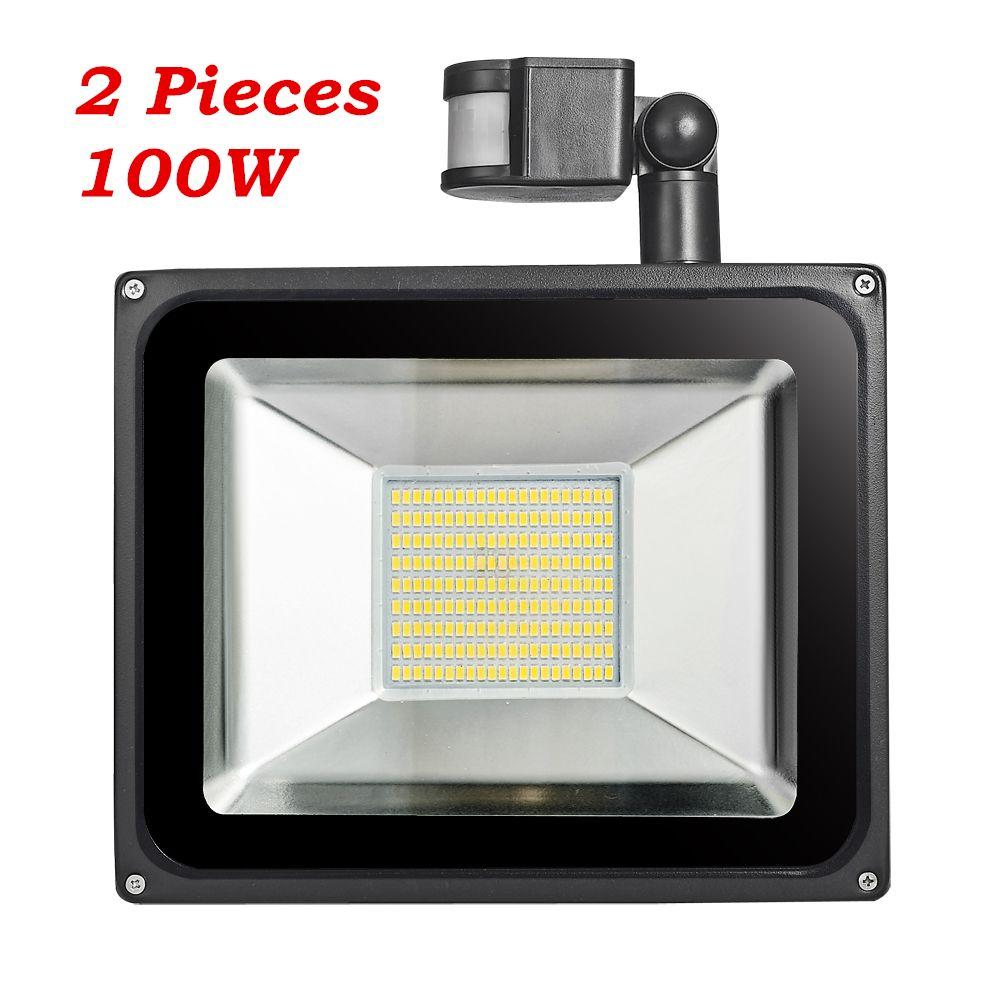 2 Pcs 100W PIR Infrared Motion Sensor <font><b>Flood</b></font> Light 220V-240V 11000LM PIR Infrared Sensor Floodlight LED Lamp For Outdoor Lighting