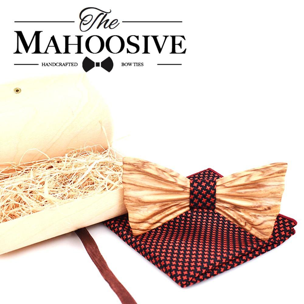 Mahoosive New 3D Design Mens Pocket Square Bow Tie Set Wood Tie Gravatas Bowties Wedding Business Suit Wooden Bow Ties Hankies