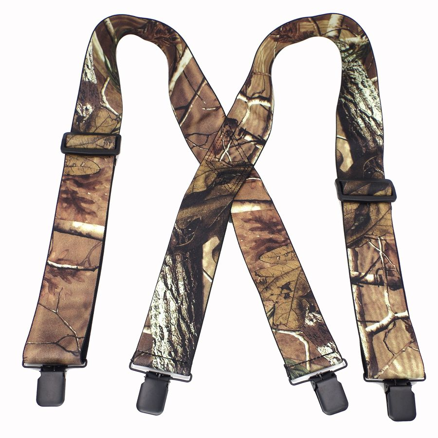 Bretelles Camouflage Bretelles homme Vintage extérieur Bretelles Bretelles adulte 4 clips suspensorio Ligas Tirantes 5*120 cm