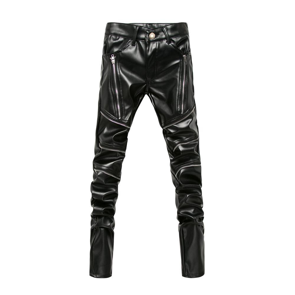 Nouveau arrivé personnalité homme en cuir pantalon mâle mince en cuir pantalon vêtements pour hommes pantalons en cuir synthétique polyuréthane homme