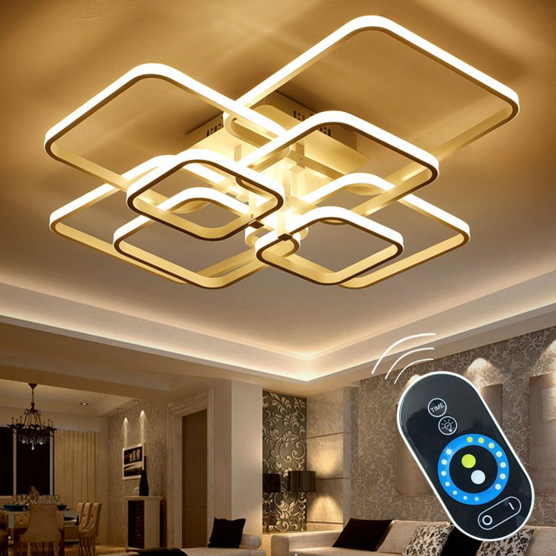 Touch Remote Control Dimming Modern LED Ceiling Lamp Fixture For Living Room Aluminum For Dining Room Bedroom Lights Lustre