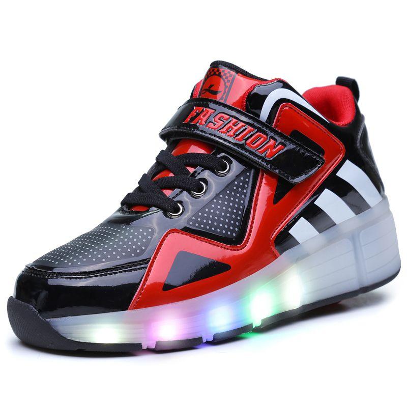 30-39 einzelnen Rad Glowing Atmungsaktive Jungen Mädchen Rollschuhe Turnschuhe LED Licht Schuhe Kleine Kinder/Große Kinder blinkt Board