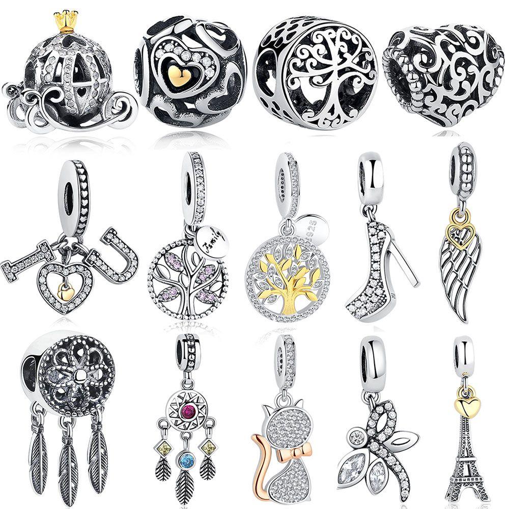 Bricolage argent charme Fit Original Bracelet Pandora perles 925 argent Sterling amour Dangle charme cristal coeur, fleur, tour, arbre perle