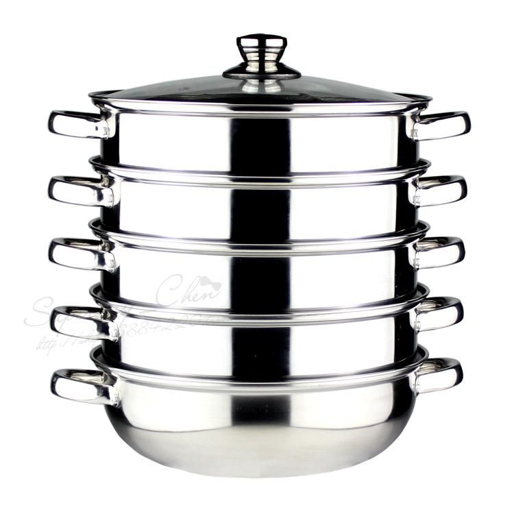 FREE SHIPPING 5 LAYER 30CM STEAMER POT INOX COOKING POT STOCK POT STEW POT WITH STEAMER DRAW stainless steel