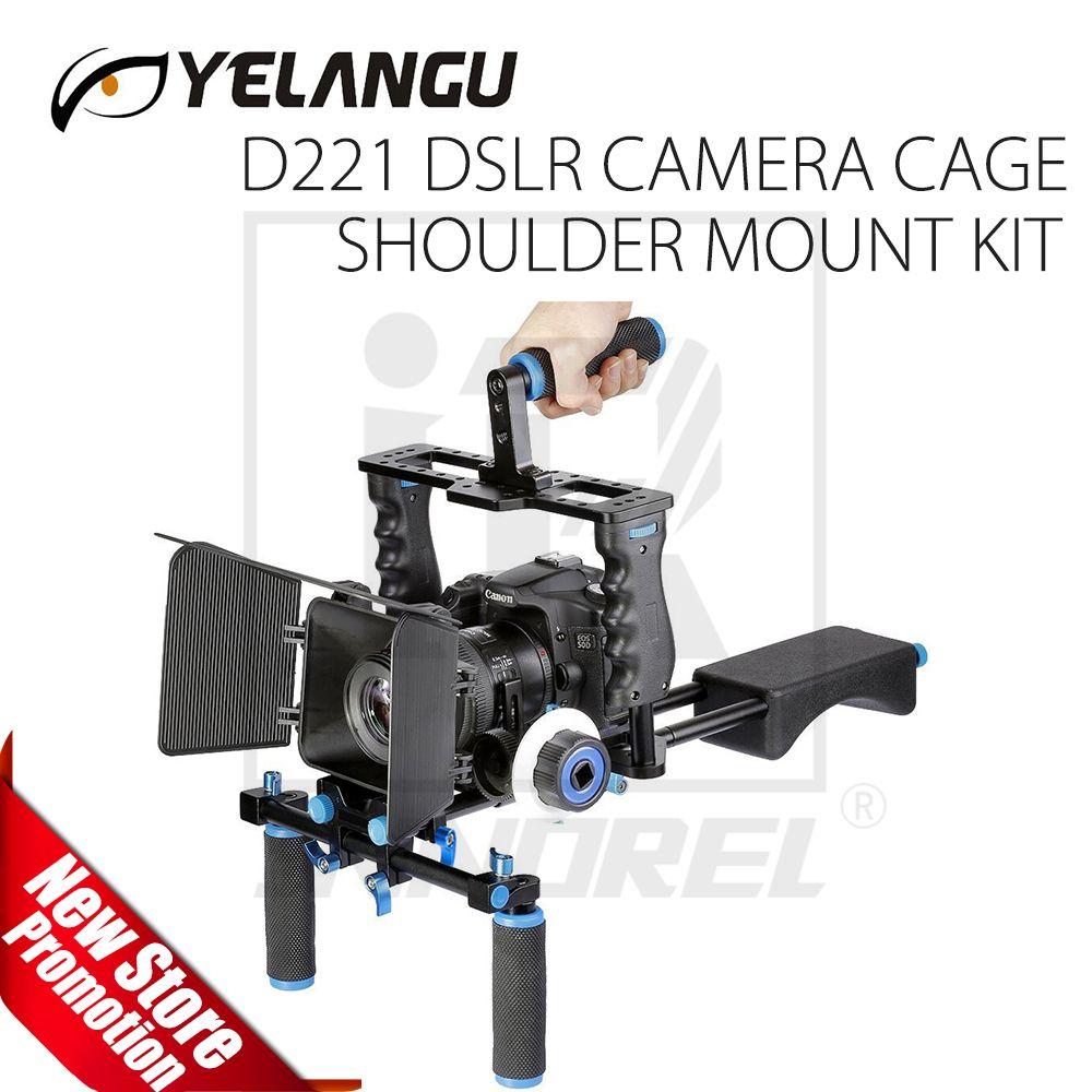 YELANGU D221 Professionelle DSLR Video Rig Schulter Kamera Stabilisator Matte Box Schärfen Käfig für Canon Nikon Sony DSLR