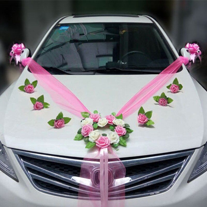 Wedding Car Decoration Sets Artificial Flower Diy Garlands Wreath Rose Valentine's Day Decor Pull Flowers Ribbon