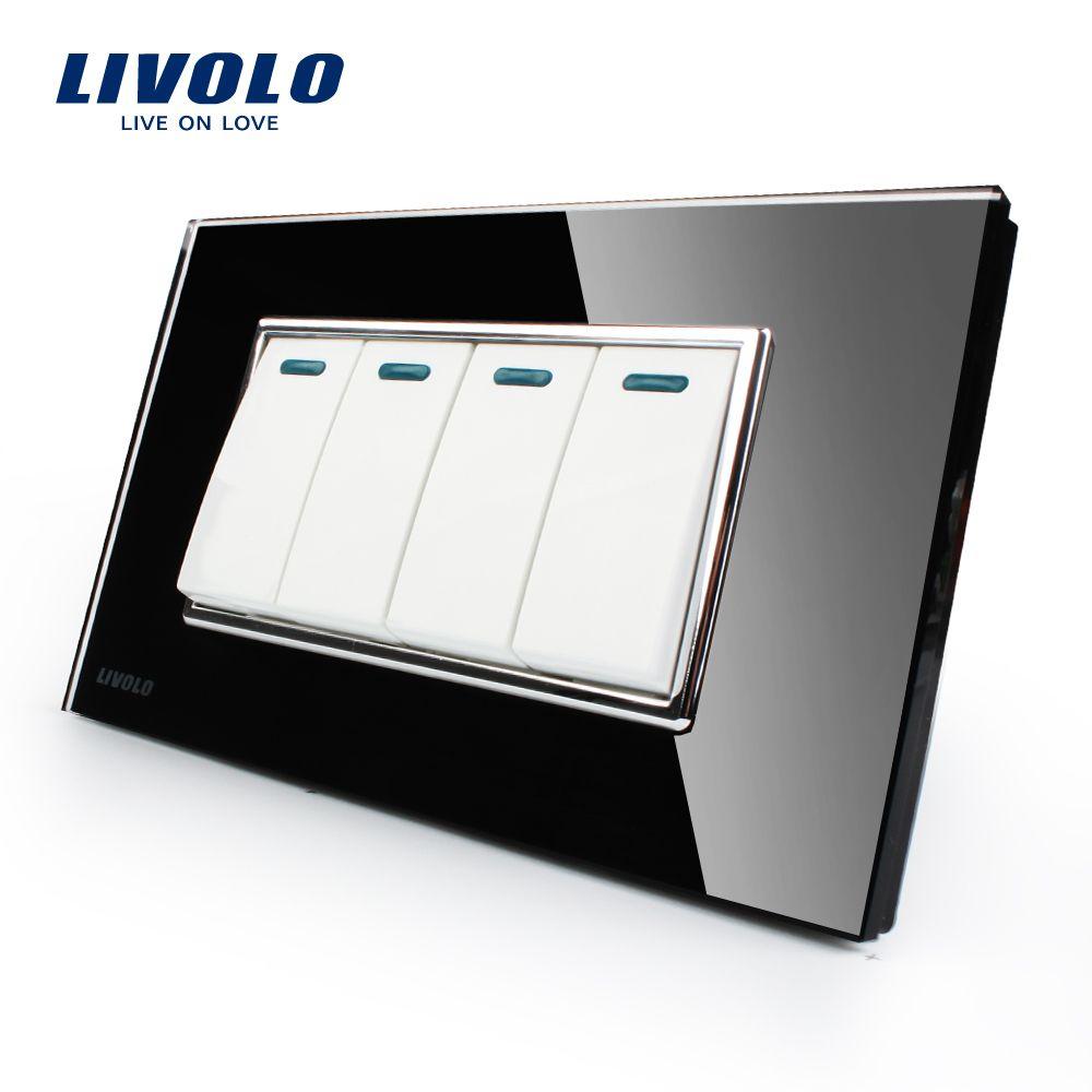Livolo Manufacturer Luxury Black Crystal Glass Panel, 4 Gangs 2 Way, Push Button Switch, VL-C3K4S-82