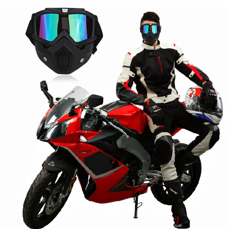 Moto Motorcycle Goggles Vintage Open Face Helmet Mask Detachable Ski Bike Motocross Goggles Helmet Motorcycle Glasses Mask Black