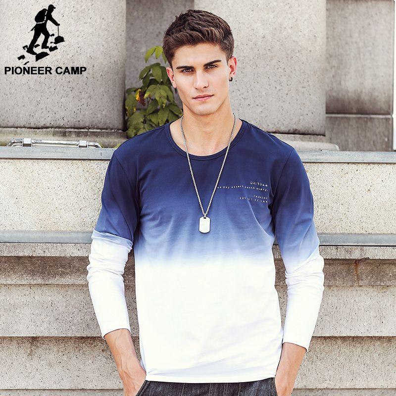 Pioneer Camp 2019 nouvelle arrivée hommes t-shirts mode o-cou décontracté à manches longues T-Shirt dégradé bande vêtements T-Shirt Homme 611907