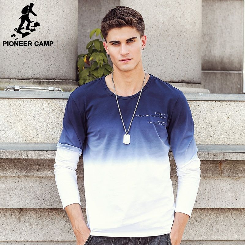 Pioneer Camp 2018 New Arrive Mens T Shirts Fashion O-Neck casual Long Sleeve T-Shirt Gradient band Clothing T Shirt Homme 611907