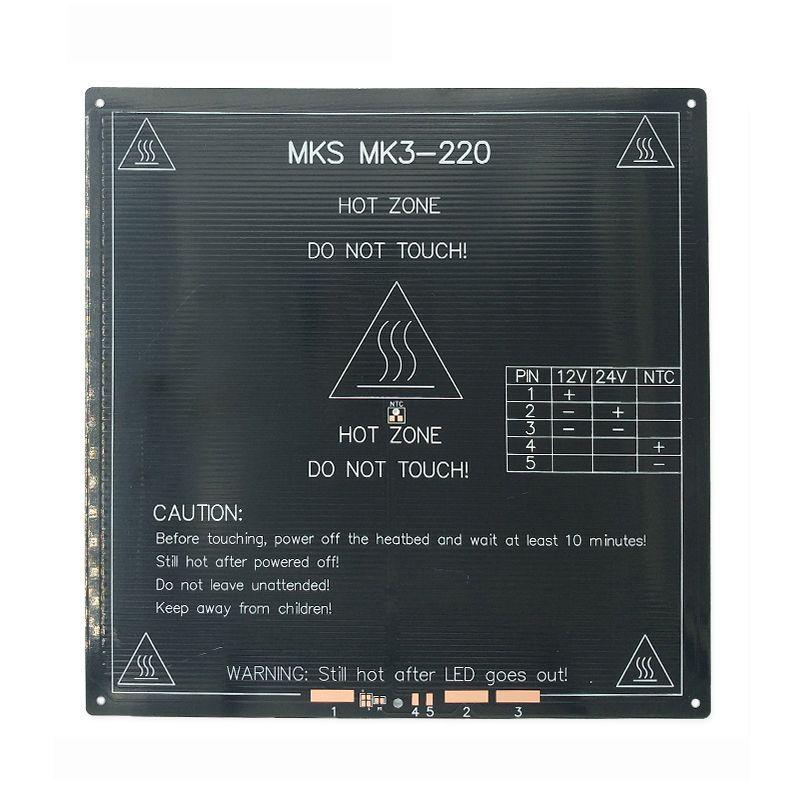 Updated, High Temperature 120 Degree 220*220*3mm 3D Printer Aluminum MK3 PCB HeatBed Dual Power Heat Bed Alu HotBed