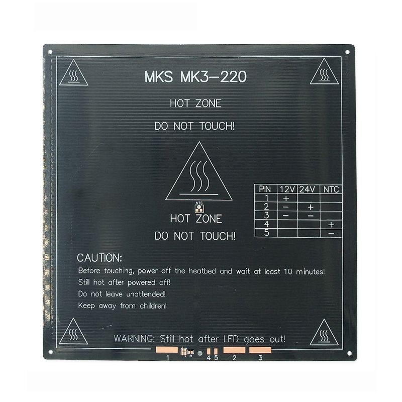 Updated, High Temperature 120 Degree 220*220*3mm 3D Printer Aluminum MK3 PCB HeatBed Dual Power Heat Bed Alu HotBed