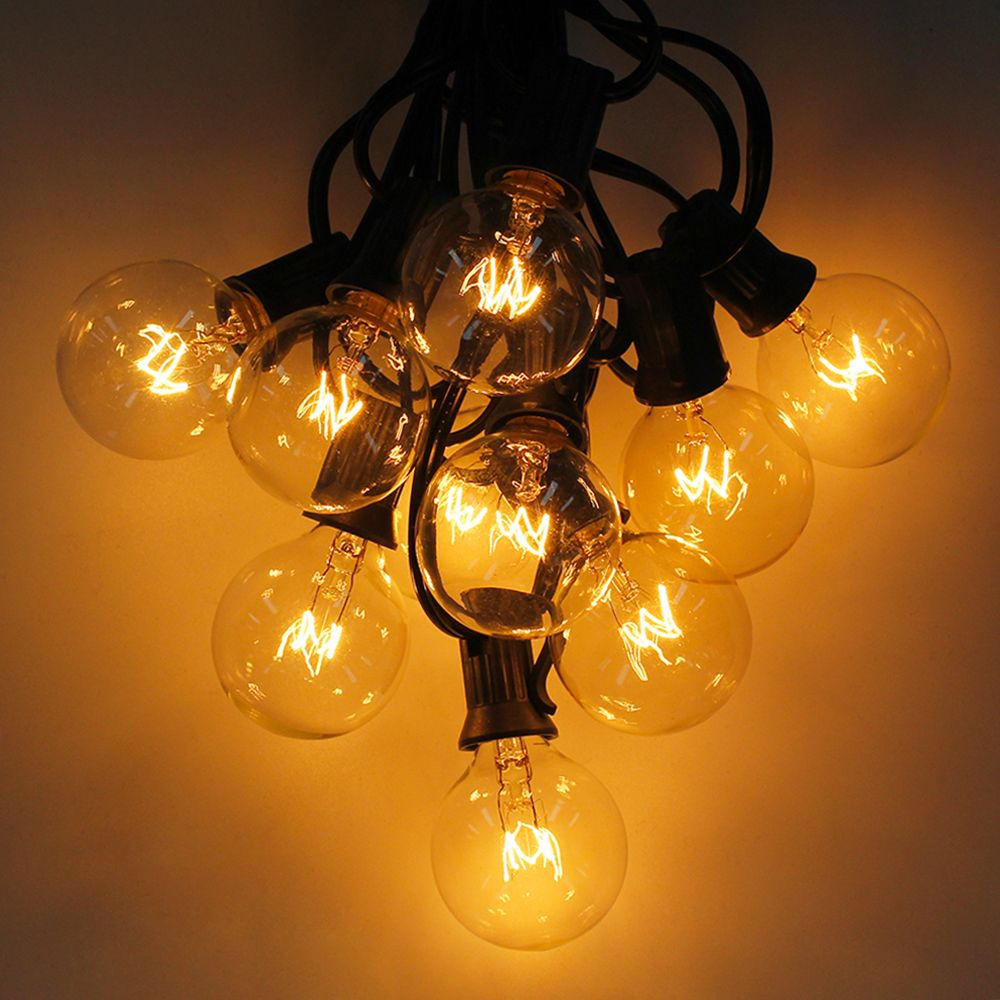 Warm White 25 Clear Bulbs G40 Globe <font><b>String</b></font> Lights EU/US Plug, Perfect For Indoor & Outdoor Decoration