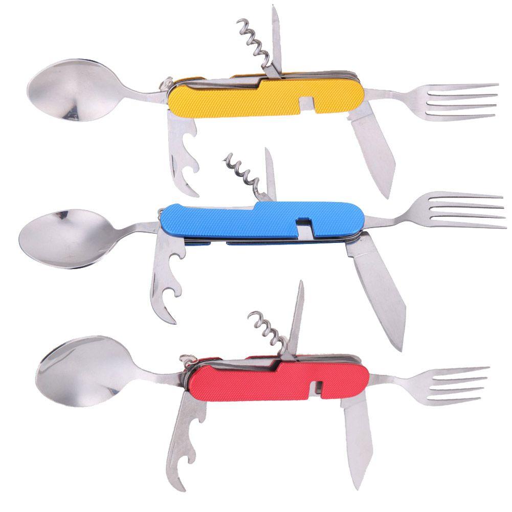 Tragbare Multifunktions Edelstahl Folding Löffel Gabel Messer 3 in 1 Geschirr für Outdoor Camping-picknick-reise-schale Werkzeug