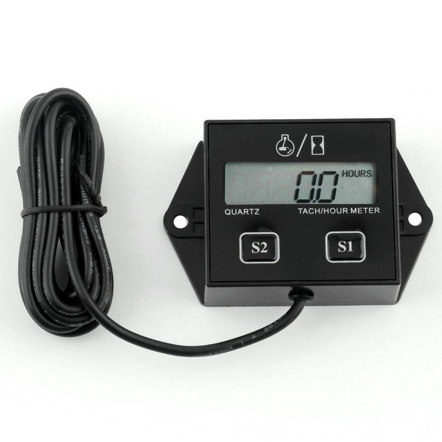 1pc Hour meter motorcycle Tachometer 2&4 Stroke gasoline Engine Spark For Boat/Motocross/Bike 12V CAR LCD display hot selling