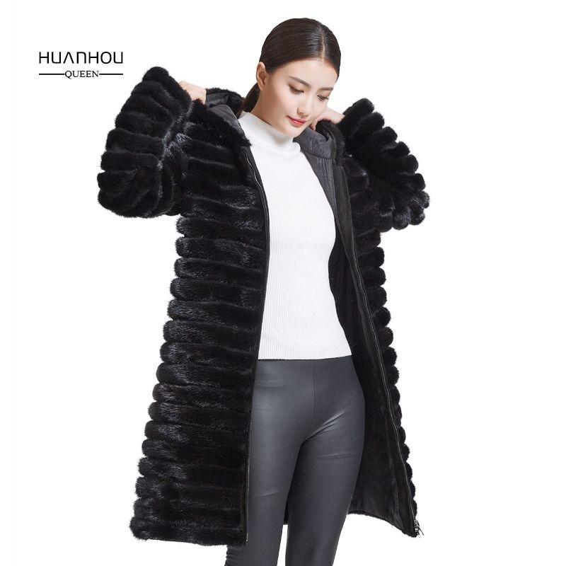 Huanhou königin 2018 real nerz mantel für frauen mit kapuze, extra große plus größe winter warm schlank mantel.