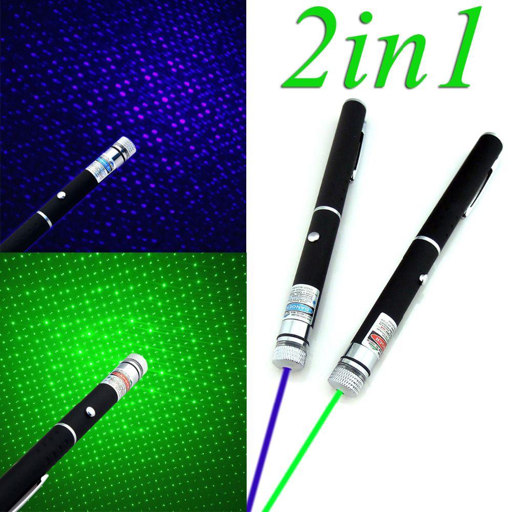 2in1 5 mw Militär Leistungsstarke Grün/Blau Violett Laserpointer powerpoint presenter remote lazer pointer Neueste Mit Stern kappe