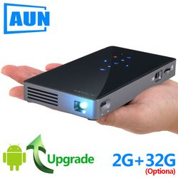 AUN Smart Proyektor, D5S, Android 7.1 (Opsional 2G + 32G) Wifi, Bluetooth, HDMI, Home Theater Proyektor Mini