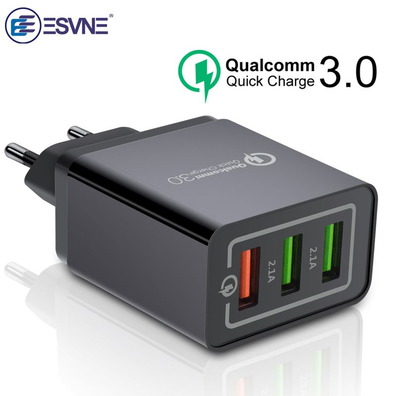 ESVNE 3 Port USB Wall Charger quick charge 3.0 4.0 qc 2.0 for iPhone Fast Charging Samsung Xiaomi Mobile Phone Charger adapter