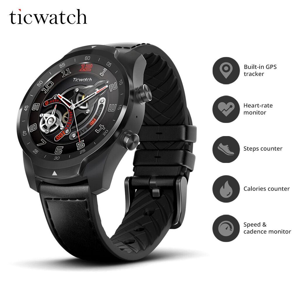 Ticwatch Pro Sport Smart Uhr ip68 Bluetooth wifi Telefon Uhr NFC Zahlungen/Google Assistent Android Tragen 415 mAH Smartwatch GPS