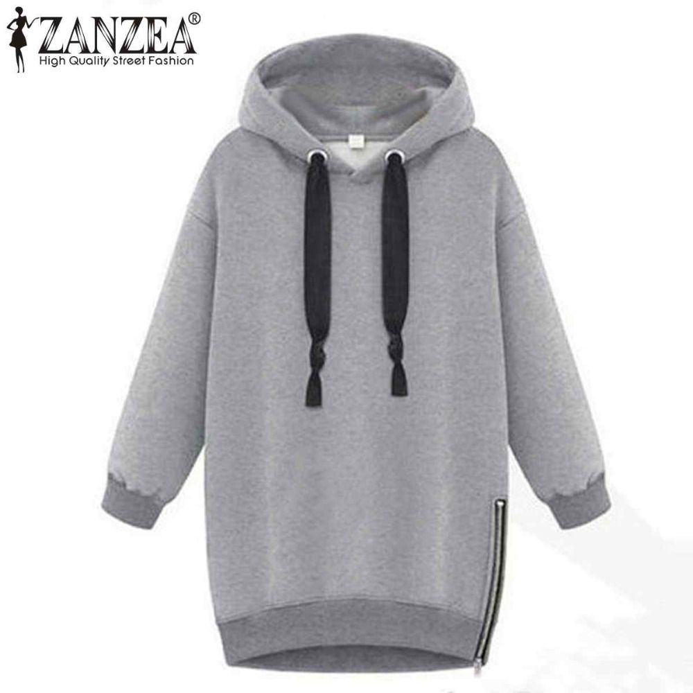2018 Autumn Winter Zanzea Women Hoodies Long Sleeve Hooded Loose Casual Warm Sweatshirt Oversized Plus <font><b>Size</b></font> Sweatshirts