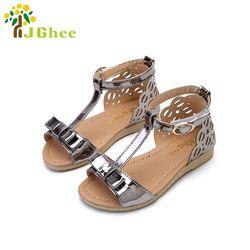 2017 D'été Enfants Chaussures Filles Sandales Princesse Bowtie Brillant En Cuir Verni de La Peau Lumineuse Chaussures Pour Enfants 21-36 Sandales