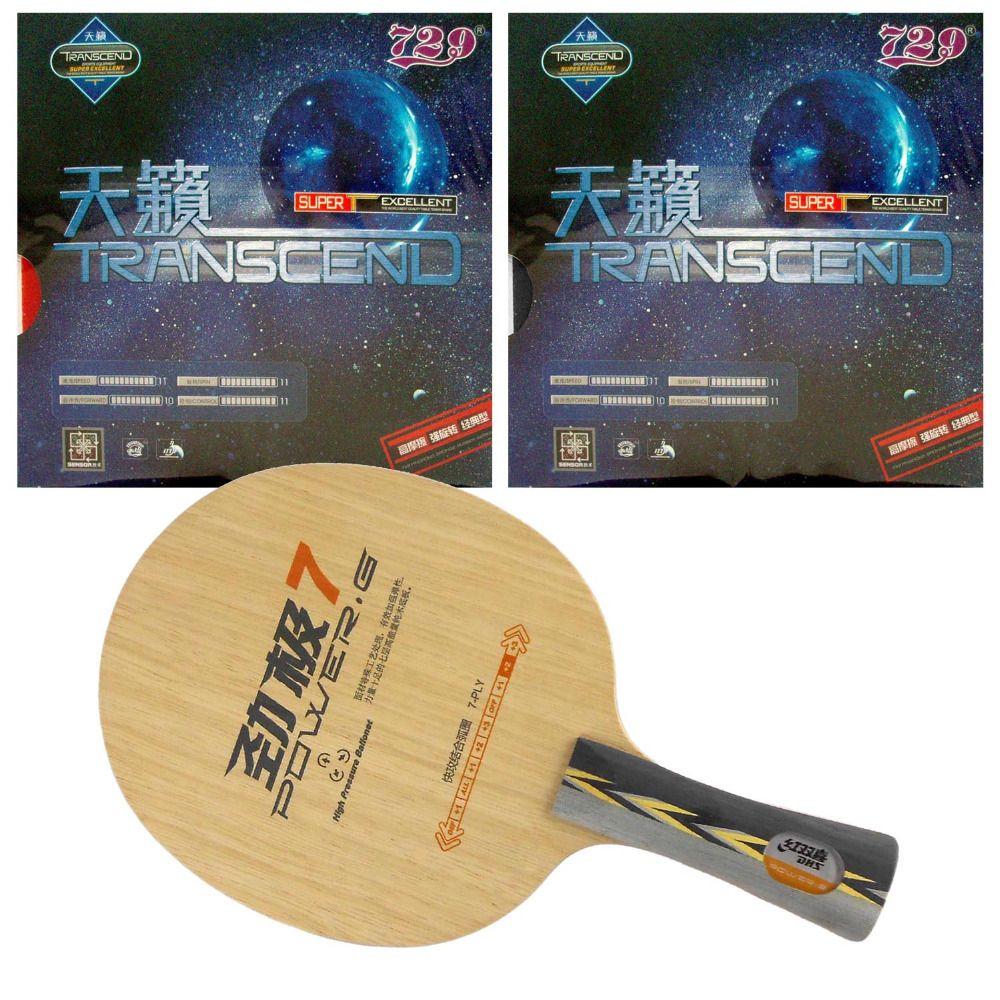 DHS POWER. G7 PG.7 PG7 Klinge mit 2x RITC729 TRANSCEND CREME Rubbers für einen Tischtennis Combo Schläger FL